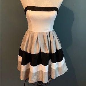 bebe Dresses - Bebe Color Block Strapless Dress Black/White/Gray